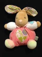 Kaloo Bunny Pink Plume Soft Toy Rattle Soother Comforter Hugs Floral Plush Heart