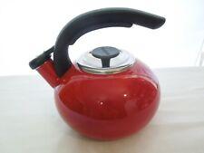 BonJour Whistling Tea Keyyle Red Enamel 1 1/2 Quarts Unused