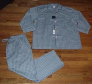 NWT Mens Brooks Brothers Wrinkle Resistant 2-Piece Pajama Set Shirt Pants *7M
