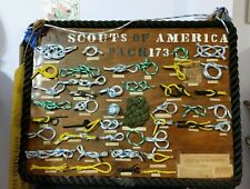 Vintage  Boy Scout Knot Wood Display 43 Rope Knots  Den Leader Cub Scouts