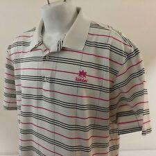 Halekulani Hotel Golf Polo Shirt 2XL Carnoustie White Pink Checked 100% Cotton