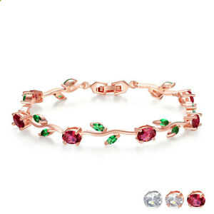 18k Rose Gold-Plated Silver Two-Tone Tennis Bracelet Diamond Bangle Bracelet