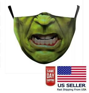 Hulk Superhero Face Mask Cartoon Washable Adjustable Reuse Cloth Unisex Adult