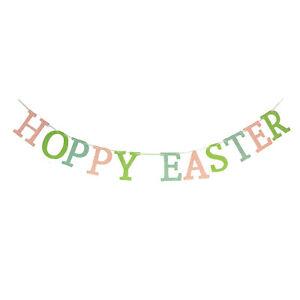 Bethany Lowe Hoppy Easter Spring Wall Garland Pastel Glitter Retro Vntg Decor