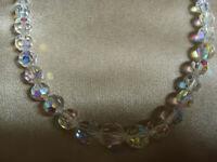 VINTAGE Rainbow Aurora Borealis Graduated Single Strand Necklace #3