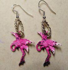 Pink Flamingo Charm 935 Earring hooks tacky LUAU Party Hand painted Nora's USA