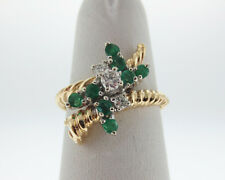 Natural Emeralds Diamonds Solid 14k Two-Tone Gold Ring FREE Sizing