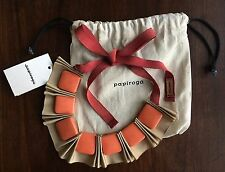 Anthropologie Papiroga Handmade Carambola Collar Necklace Beige Ribbon Orange