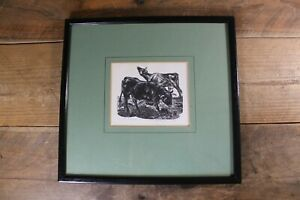 Vintage Leslie C Benenson 'Jersey Bull' 14/60 Limited Signed Woodcut Print 1971