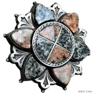 Antique Victorian c1860 Scottish Aberdeen Granite Saltire Flower Brooch