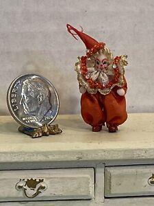 Vintage Artisan Teeny Jointed Porcelain Clown Dollhouse Miniature 1:12