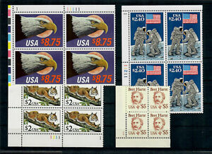 US $72.60 FACE MINT / NH LOT of HIGH DENOMINATION PLATE BLOCKS, $2.00 - $8.75!