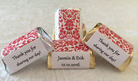120 RED DAMASK Personalized Candy labels/wrappers/stickers for wedding/party