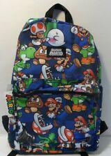 """Nintendo Super Mario Bros. Backpack Book Bag All Over Print 16"""" Yoshi Luigi Nwt"""