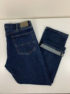 Polo Ralph Lauren Hampton Straight Blue Jeans Men Size 40Tx36 (Actual 40x32) EUC