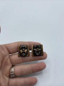 Vintage Comedy Tragedy face mask Cufflinks cuf links Copper costume jewelry #C18