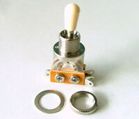 3 Way Toggle Switch Chrome w. Cream Cap for Les Paul Guitar