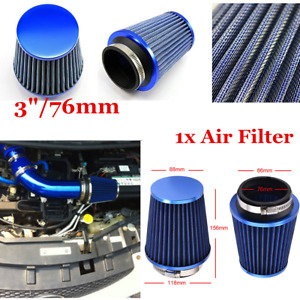 "3"" Inlet Blue Racing Car High Flow Intake Round Cone Air Filter Kit w/ Clamp"