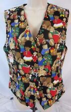 Orvis Christmas Womens Vest Size Medium Bears Trees Lined Button Holiday AA38