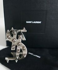 New Authentic SAINT LAURENT Paris ICONIC YSL MONOGRAM SPIKED Cuff Bracelet S