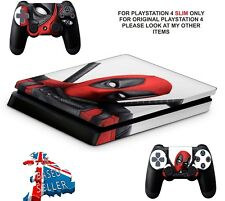 DEADPOOL PS4 SLIM SKINS**TEXTURED VINYL ! ** PROTECTIVE DECALS WRAP
