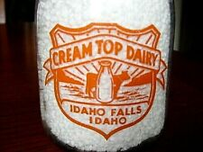 1940's CREAM TOP Idaho Falls IDA. Squat Quart ID. dairy milk bottle