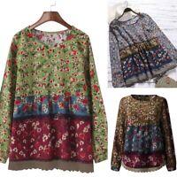 ZANZEA 8-24 Women Bohemian Printed Long Sleeve Top Shirt Tee Loose Floral Blouse