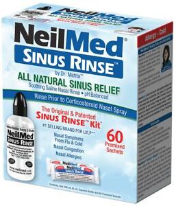 NeilMed Sinus Rinse 60 Sachets Kit & 240ml Bottle Nasal Congestion and Allergies