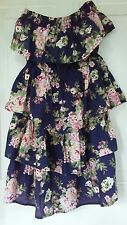 Womens Dress Strapless Pink Roses Almost Famous