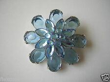 Modeschmuck Brosche Blaue Steine 14,9 g / Ø 4,8 cm