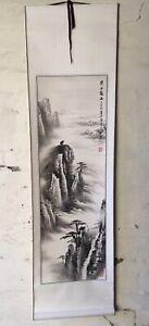 Original Asian Watercolour Painting Scroll Landscape Art STUNNING