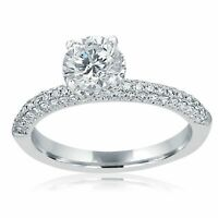 Solitaire Round Cut Diamond Hidden Halo 1.52 Ct Engagement Ring 14k White Gold