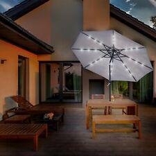 More details for garden parasol patio table umbrella shade solar power led light crank tilting