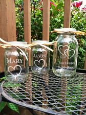 Etched Glass  Personalized Mason Jar Sand Ceremony Unity Set 3 Jars  Wedding