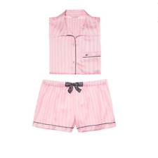 Victoria's Secret The Satin Boxer 2 Pc Pink White Stripe Pyjamas Set PJ Sz L New