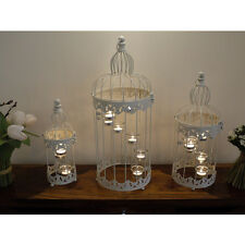 SET OF 3 VINTAGE STYLE BIRD CAGES WITH TEA LIGHT CANDLE HOLDERS