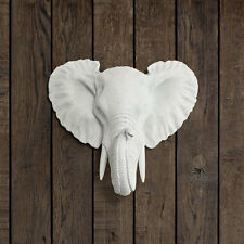 Wall Charmers Elephant Mini in White Faux Elephant Head Fake Animal Taxidermy