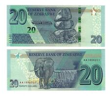 ZIMBABWE $20 Dollars 2020, Reserve Bank, Brand New Type & Series, Pack Fresh UNC