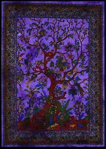 Purple Tree of Life Wall Art Cotton Tapestry Wall Hanging Beach Throw Yoga Mat