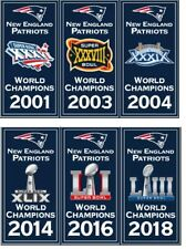 """New England Patriots Super Bowl World Champions 14"""" x 8.5"""" Banners Embroidered"""