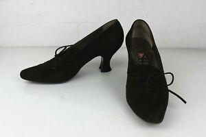 ANNE KLEIN Women's Vintage Victorian  brown suede high heels made in Italy 9 M