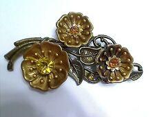 Vintage Brass Topaz Rhinestone Flower Boquet Brooch