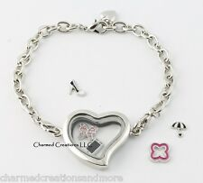 Plain Silver Tone Heart Floating Charm Glass Memory Locket Bracelet