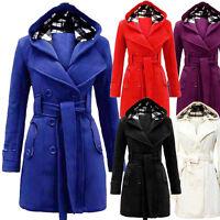Fashion Women's Warm Winter Hooded Long Coat Belt Double Breasted Jacket Outwear