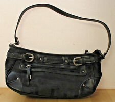ETIENNE AIGNER Black Signature Logo Canvas Satchel Shoulder Bag Handbag Purse