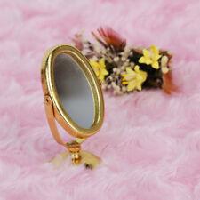 1/12 espejo de afeitar de metal en miniatura de casa de muneca de color oro W2M6