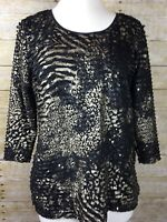 JM Collection Geometric Pullover 3/4 Sleeve Blouse Top SZ PXL Black, Gold Sequin