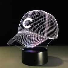 7 Color Change MLB Chicago Cubs Cap 3D Visual Night Light USB Acrylic Table Lamp
