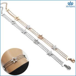 Bracciale da donna multifilo con stelle zirconi braccialetto in acciaio inox per