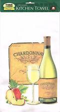 NEW Chardonnay Wine Bottle Label Glass and Apple 100% Cotton Tea Towel